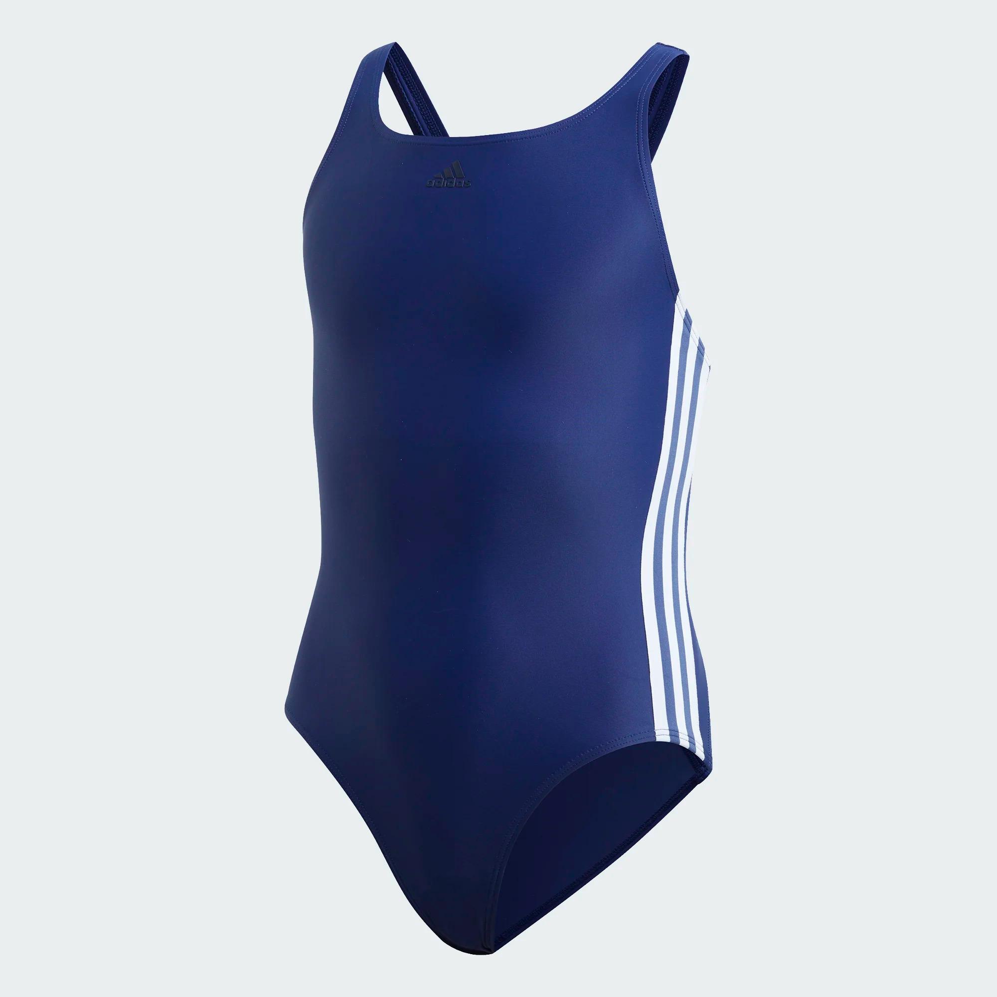 Adidas Athly V 3-Streifen Badeanzug für Mädchen - dunkelblau