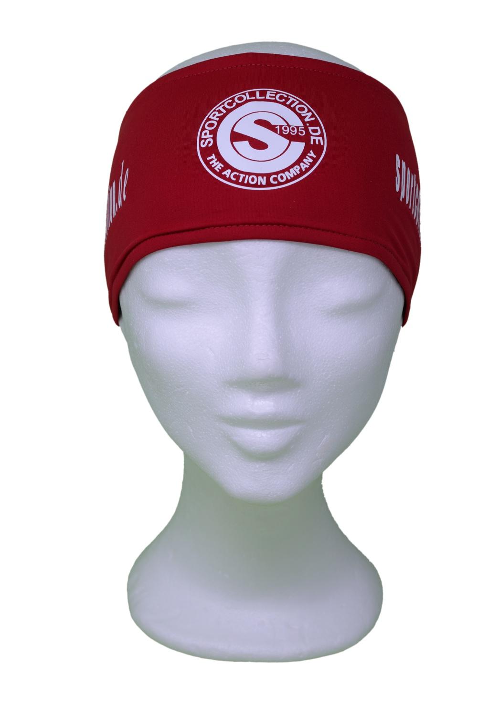 Stöhr Stirnband Rot-Weiß-Logo-Text