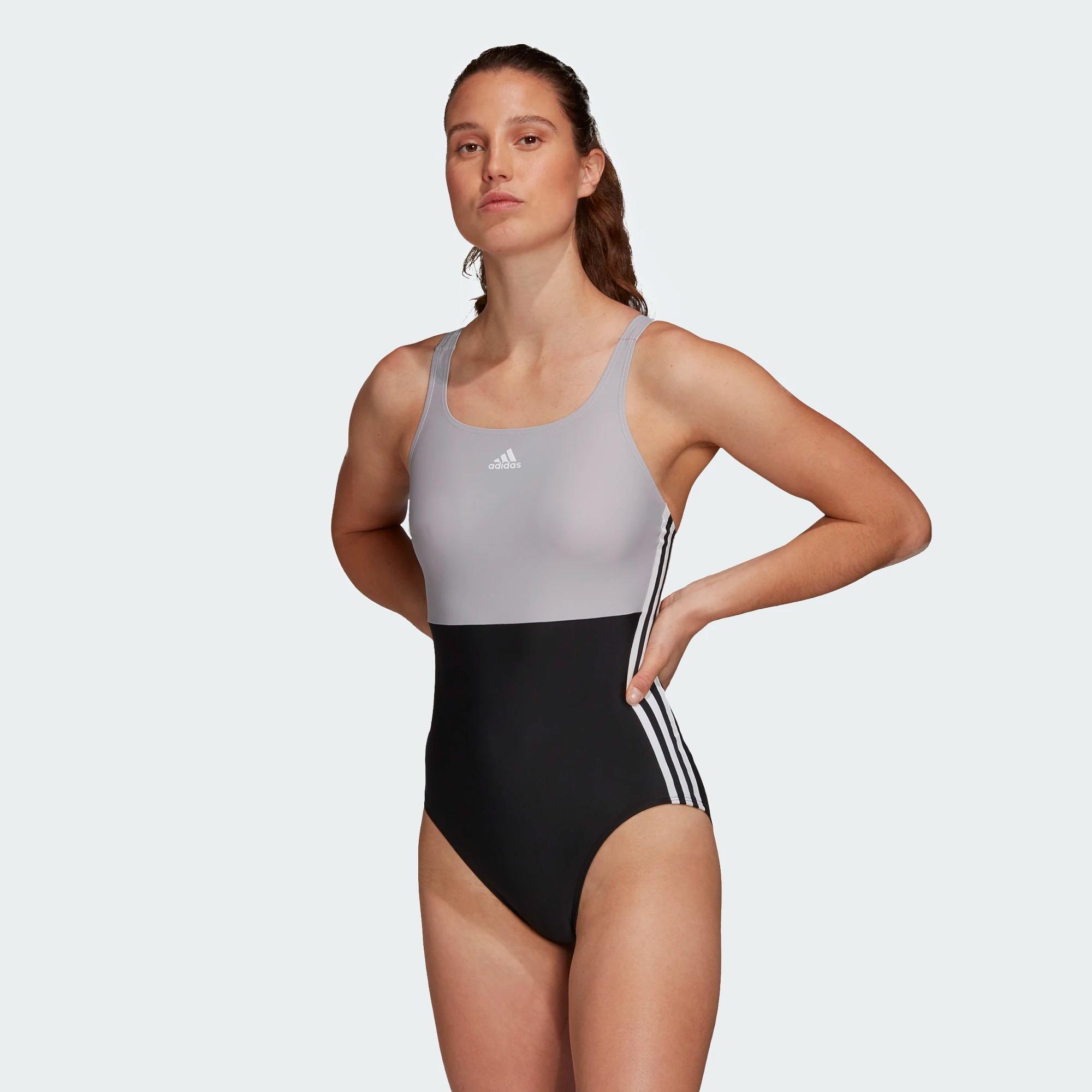 Adidas SH3.RO 3-Streifen Colorblock Badeanzug - schwarz/grau