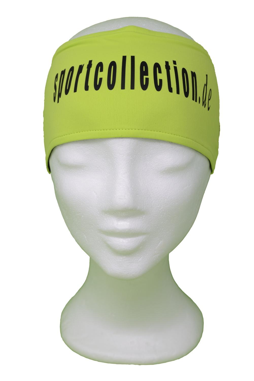 Stöhr Stirnband Limette-Schwarz-Text-Groß-Logo