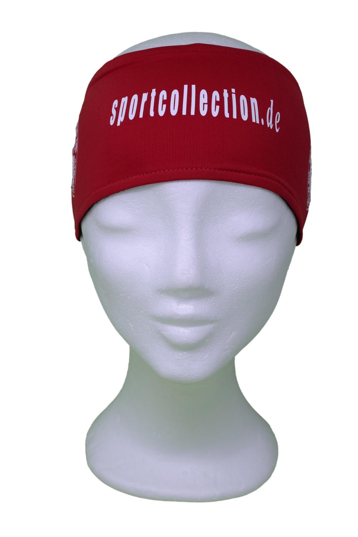 Stöhr Stirnband Rot-Weiß-Text-Logo