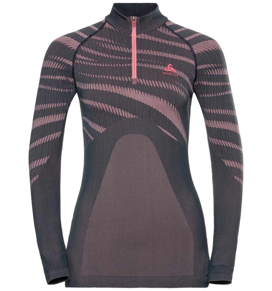 Odlo Damen BLACKCOMB Funktionsunterwäsche Langarm-Shirt mit 1/2 Reißverschluss & Stehkragen - grau rose