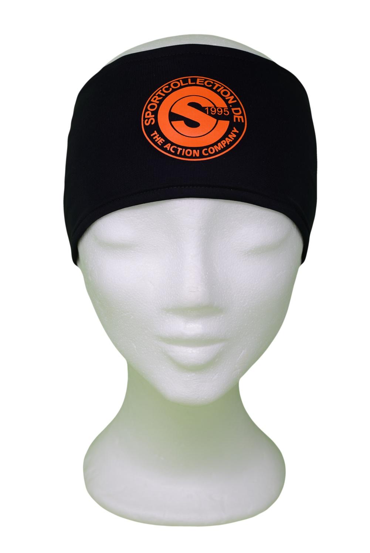 Stöhr Stirnband Schwarz-Orange-Logo