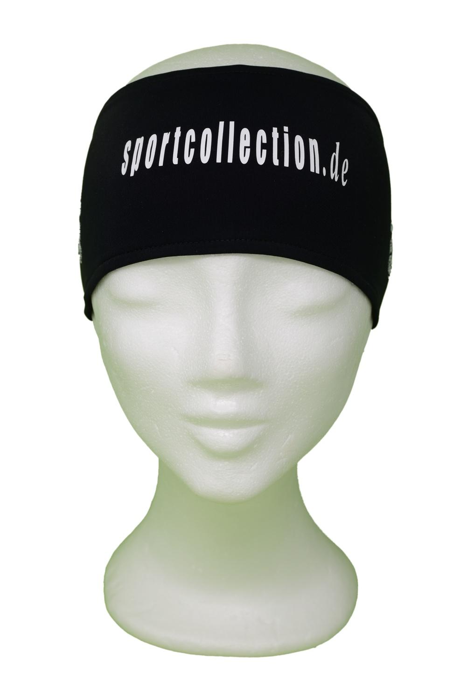 Stöhr Stirnband Schwarz-Weiß-Text-Logo