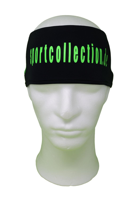Stöhr Stirnband Schwarz-Grün-Text-Groß-Logo