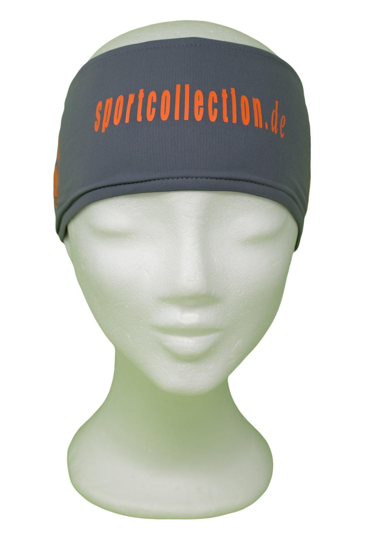 Stöhr Stirnband Grau-Orange-Text-Logo