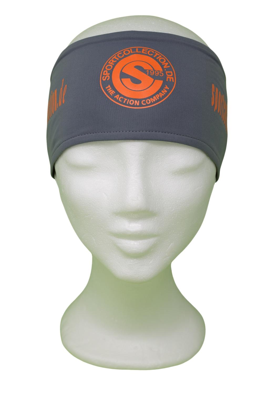 Stöhr Stirnband Grau-Orange-Logo-Text