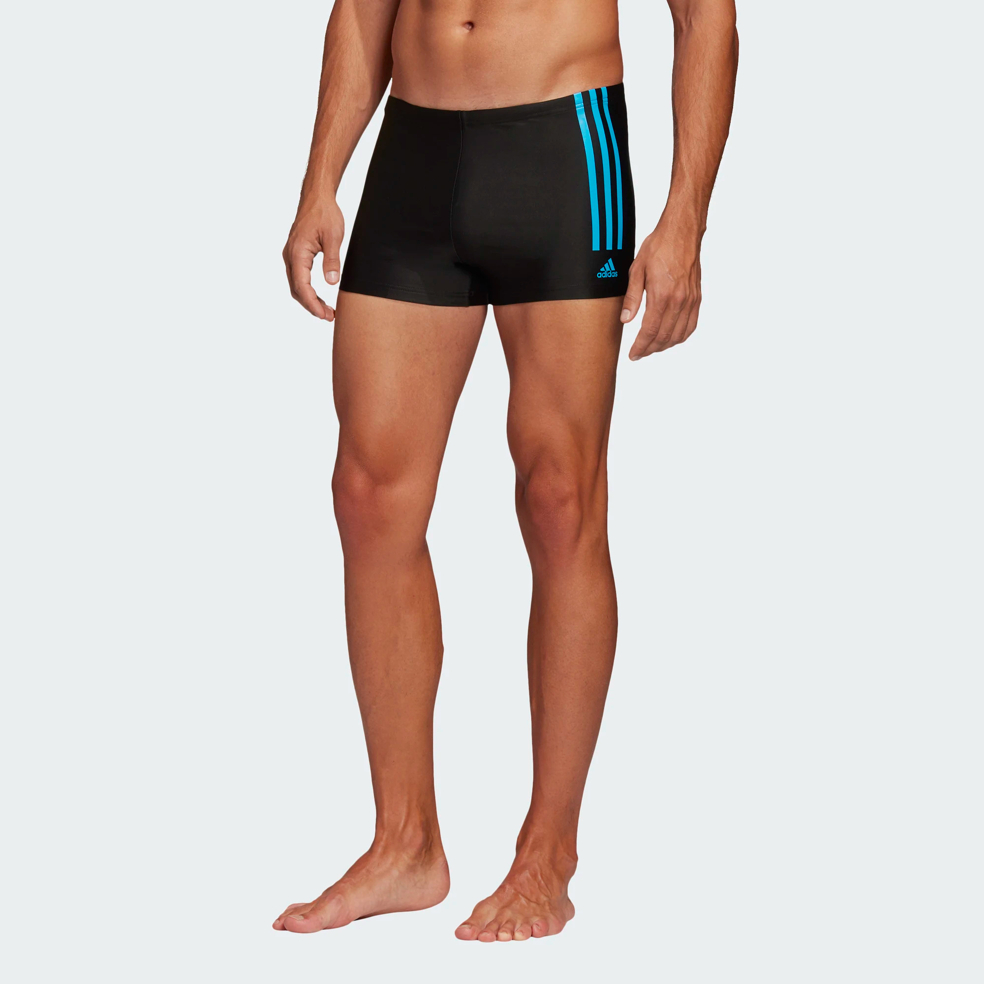 Adidas Semi 3-Streifen Boxer-Badehose - schwarz/cyan