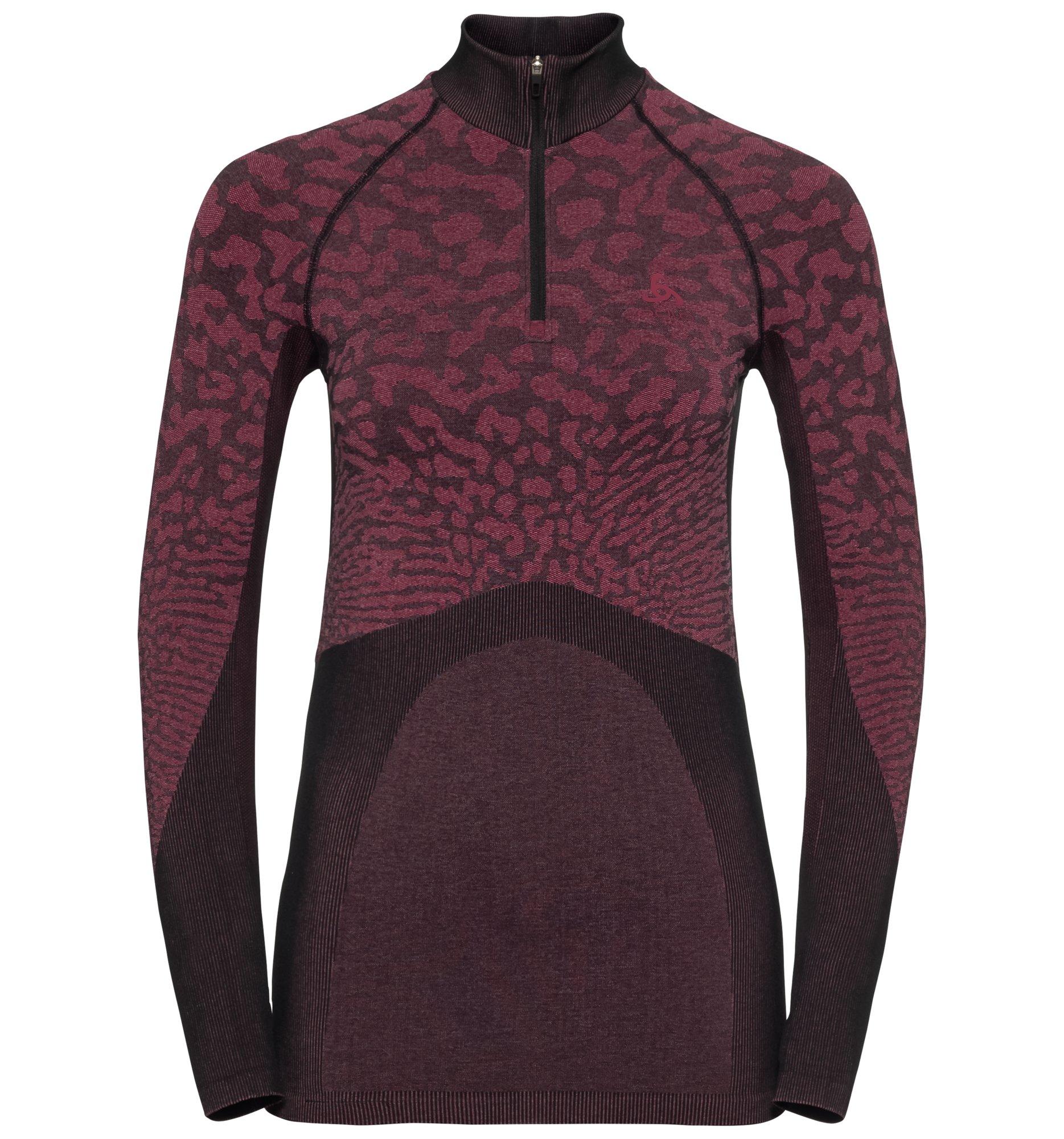 Odlo Damen BLACKCOMB Funktionsunterwäsche Langarm-Shirt mit 1/2 Reißverschluss & Stehkragen - cerise