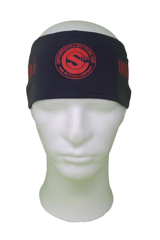 Stöhr Stirnband Grau-Rot-Logo-Text