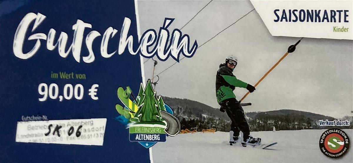 Gutschein 014  Altenberg Skilift Saisonkarte Kinder
