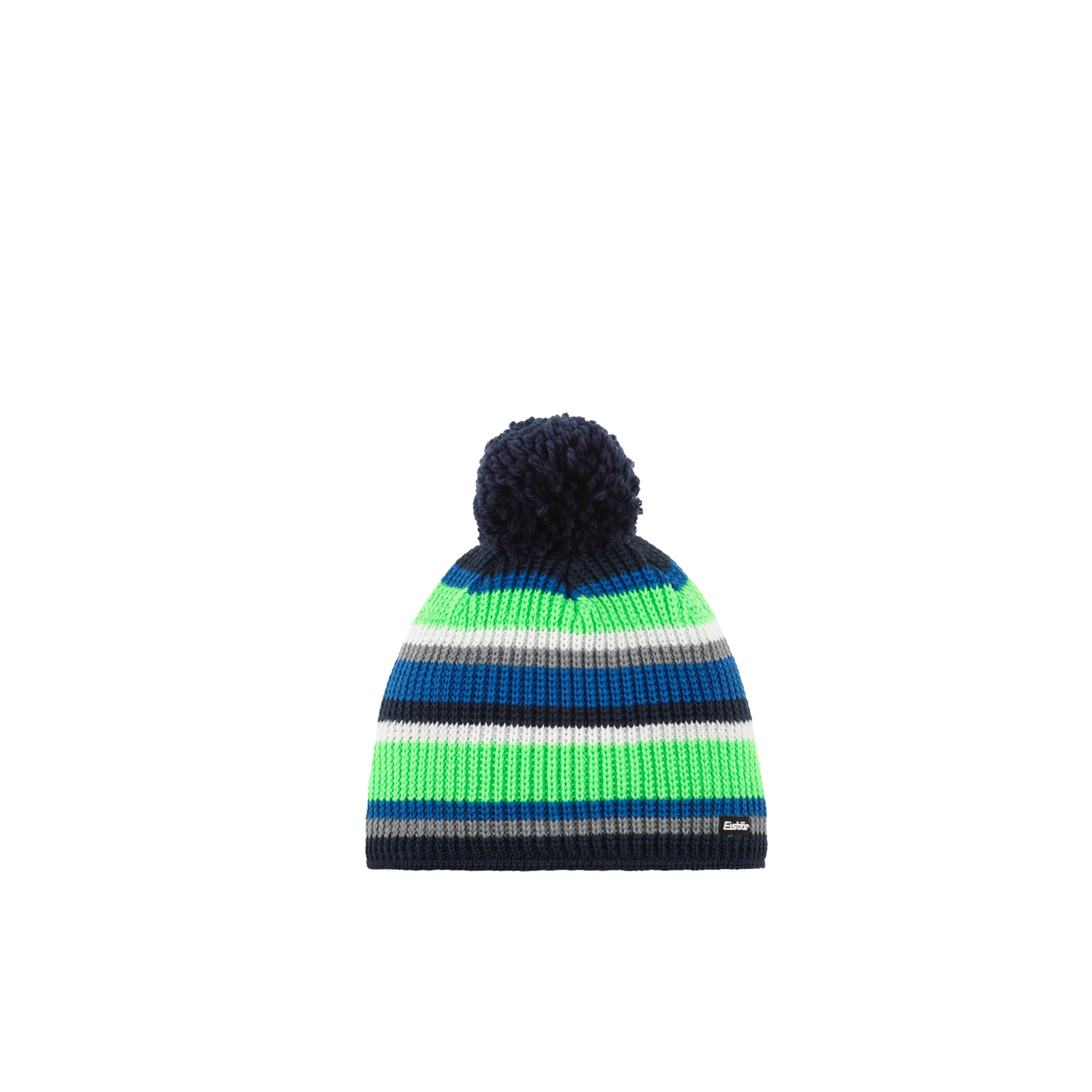 Eisbär Clip Pompon Mütze - blau/grün