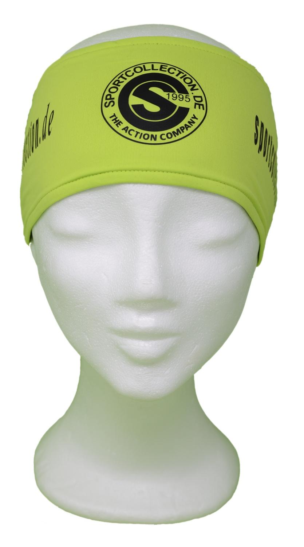 Stöhr Stirnband Limette-Schwarz-Logo-Text