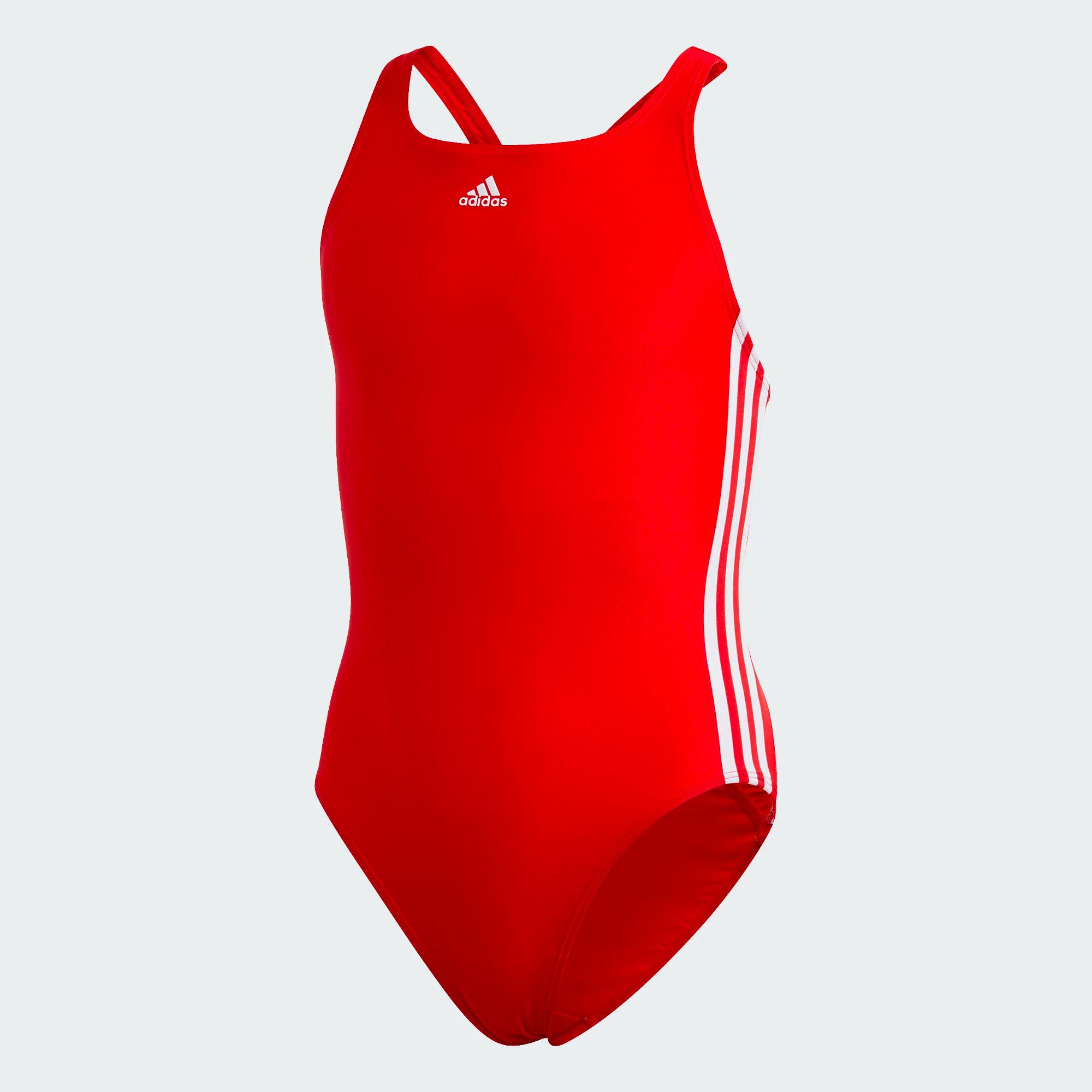 Adidas Athly V 3-Streifen Badeanzug für Mädchen - Rot