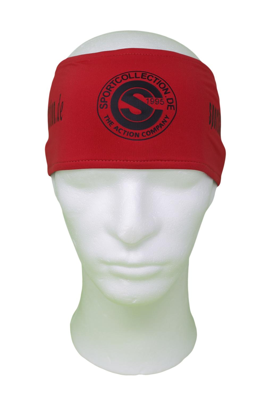Stöhr Stirnband Rot-Schwarz-Logo-Text
