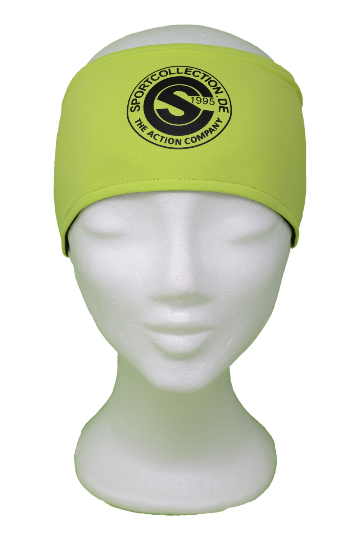 Stöhr Stirnband Limette-Schwarz-Logo