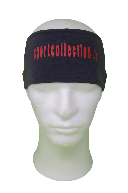 Stöhr Stirnband Grau-Rot-Text-Logo